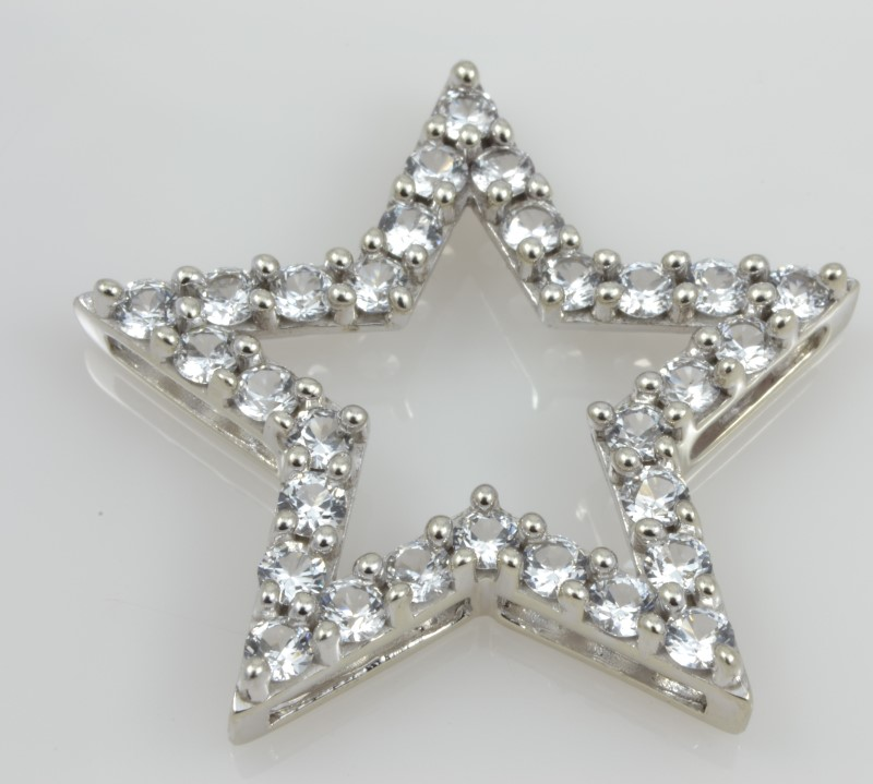 OPEN STAR PENDANT CHARM SOLID 10K WHITE GOLD WISH LUCK 5 POINT