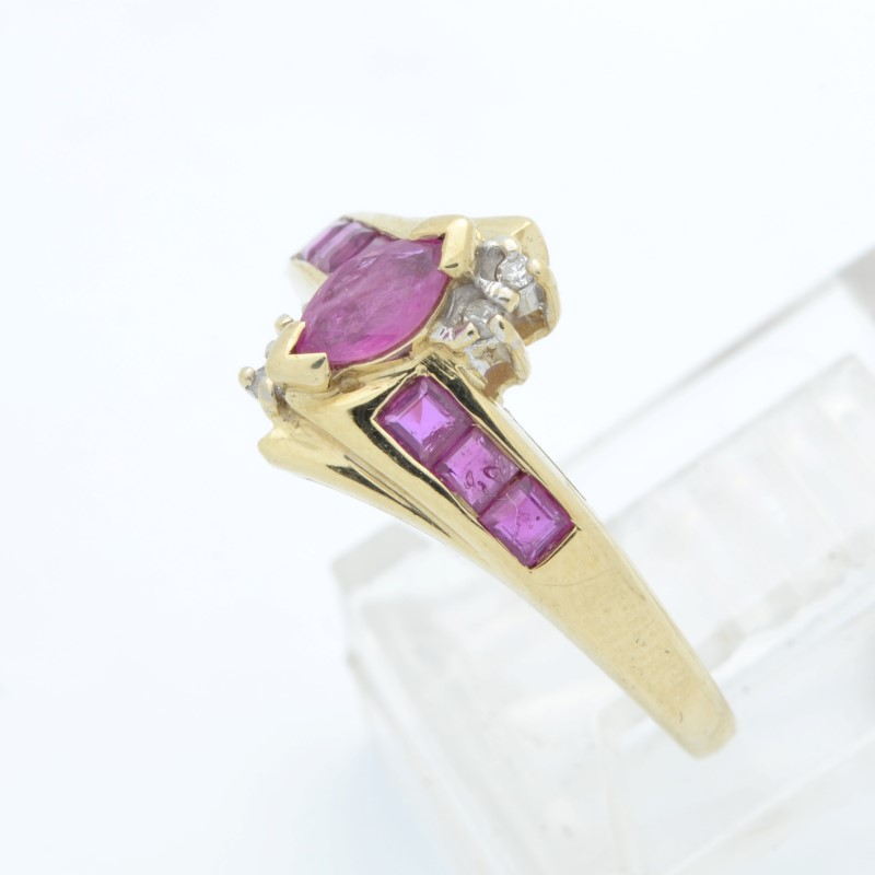 ESTATE RUBY RED DIAMOND RING SOLID 10K GOLD MARQUISE CUT FINE SIZE 6
