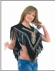 DEALER LEATHER LV3-XS/S; LADIES PONCHO WITH FRINGE AND SEQUINES AND WHITE PEARL