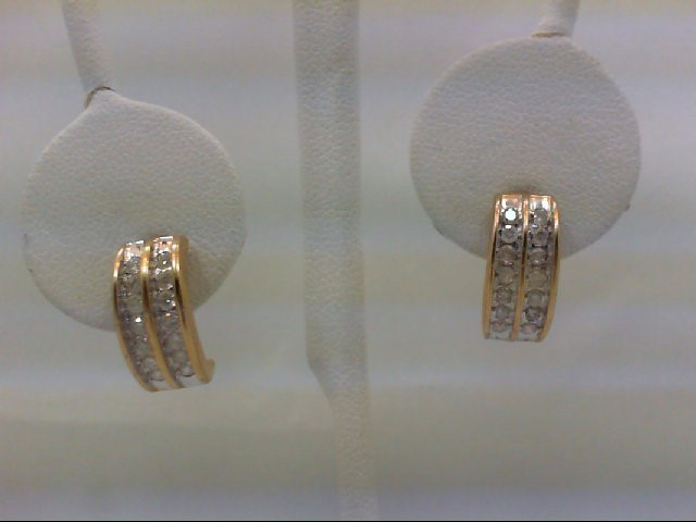 Gold-Diamond Earrings 28 Diamonds 0.56 Carat T.W. 14K Yellow Gold 2.9g
