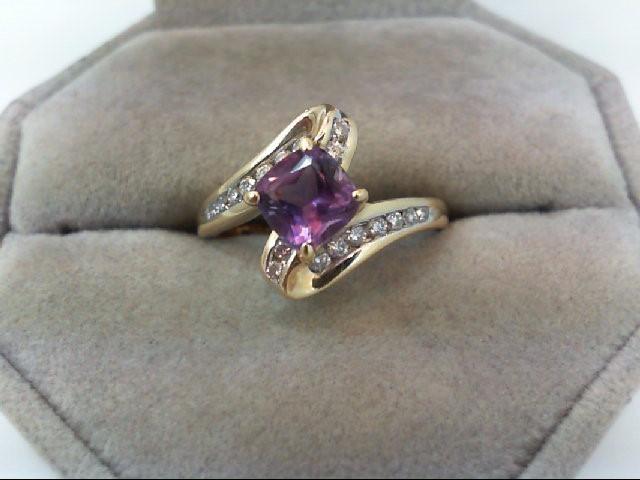 Amethyst Lady's Stone & Diamond Ring 16 Diamonds .46 Carat T.W. 14K Yellow Gold