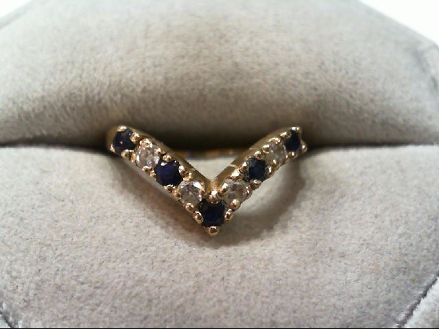 Sapphire Lady's Stone & Diamond Ring 4 Diamonds .28 Carat T.W. 14K Yellow Gold