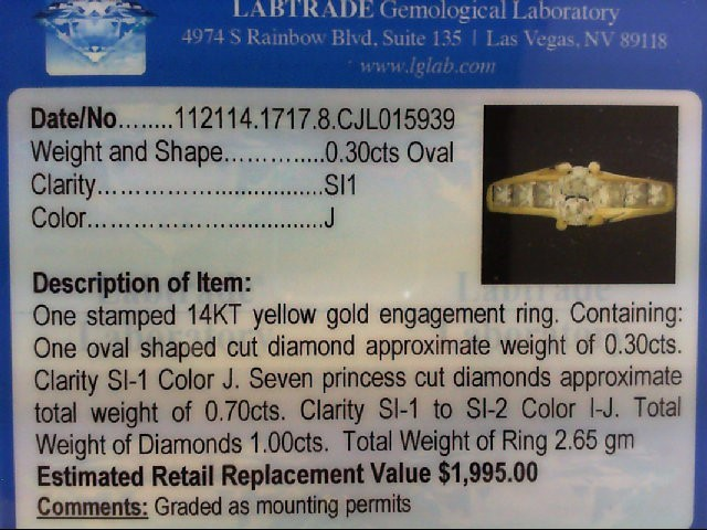 Lady's Diamond Engagement Ring 7 Diamonds 1.00 Carat T.W. 14K Yellow Gold 2.65g