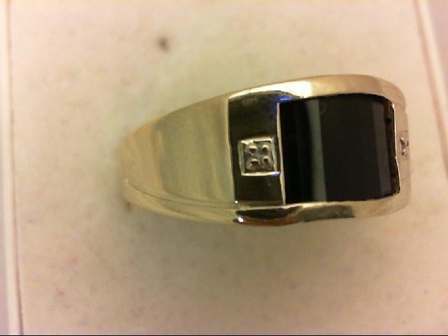 Onyx Gent's Stone & Diamond Ring 2 Diamonds 0.02 Carat T.W. 10K Yellow Gold 3.5g