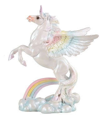"GEORGE S. CHEN 91885 WINGED UNICORN 8"" TALL WHITE OPALESCENCE AND RAINBOW COLORS"