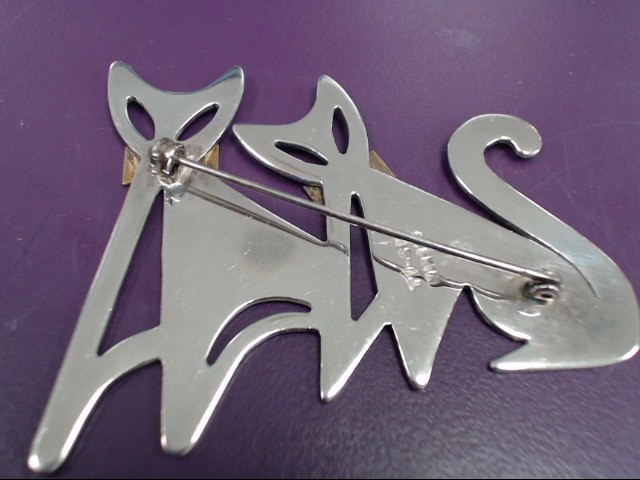 MEXICAN STERLING SILVER TWIN CAT BROOCH VINTAGE 19.1 G