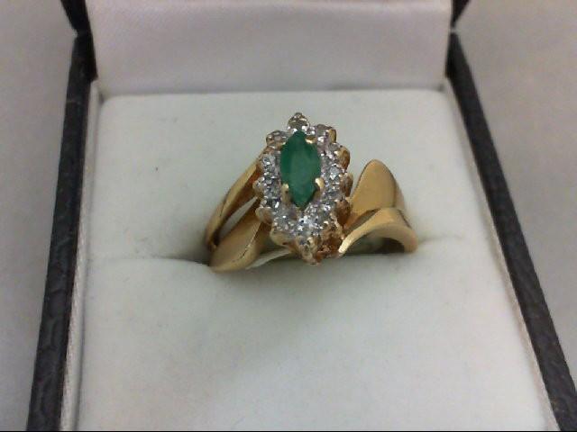 Emerald Lady's Stone & Diamond Ring 12 Diamonds 0.12 Carat T.W. 10K Yellow Gold