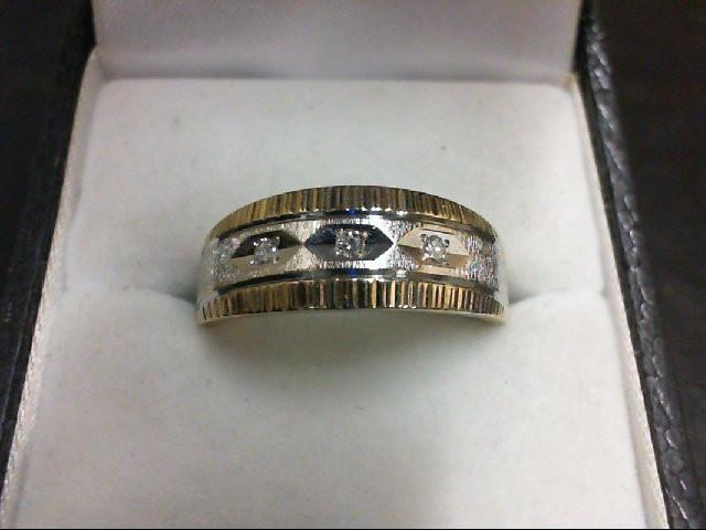 Gent's Gold-Diamond Wedding Band 3 Diamonds 0.03 Carat T.W. 14K 2 Tone Gold 5.7g