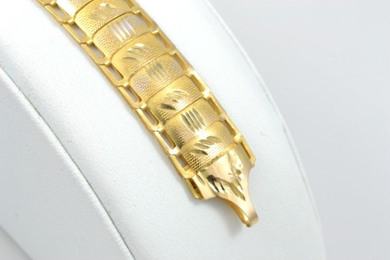 ESTATE SOLID 18K YELLOW GOLD LINK BRACELET ORNATE DECO FINE 7'