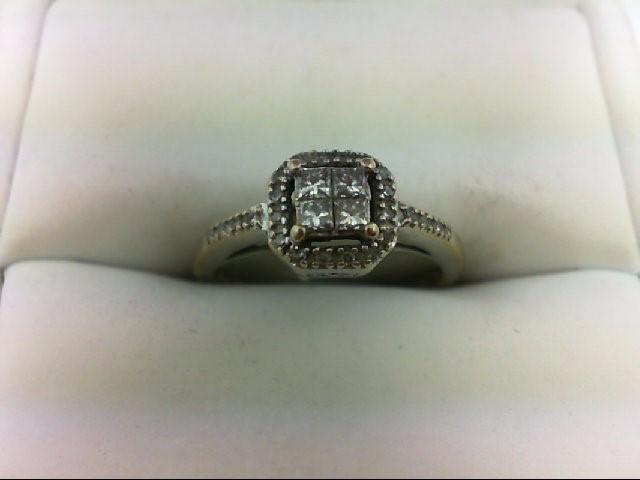Lady's Diamond Engagement Ring 28 Diamonds 0.44 Carat T.W. 14K White Gold 2.5g S