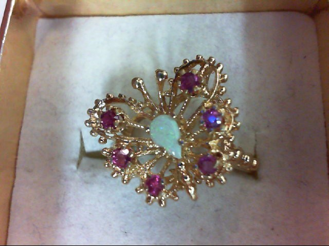 Ruby Lady's Stone Ring 14K Yellow Gold 3.1g