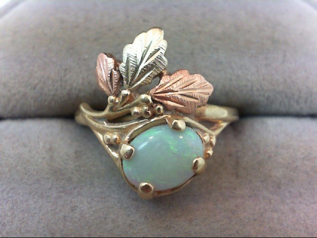 Opal Lady's Stone Ring 10K Tri-color Gold 2.4g