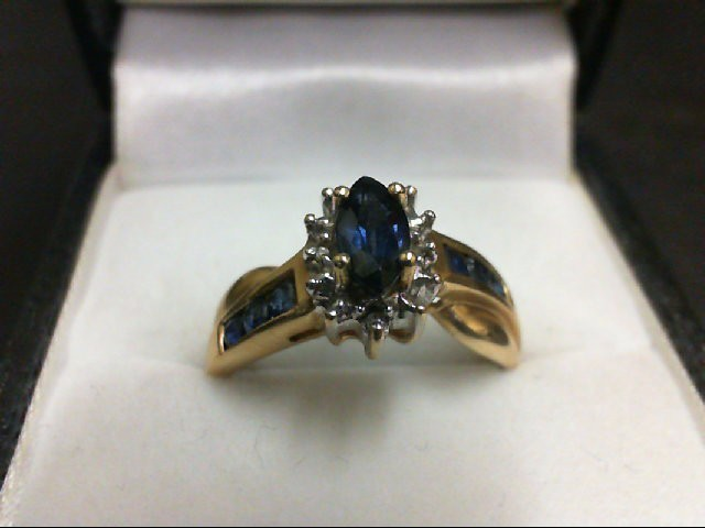 Sapphire Lady's Stone Ring 10K Yellow Gold 2.6g