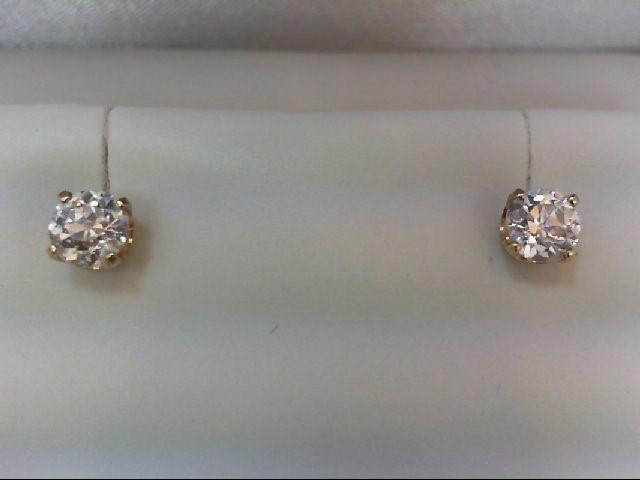 Gold-Diamond Earrings 2 Diamonds 1.51 Carat T.W. 14K Yellow Gold 1.4g