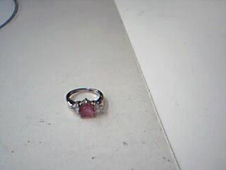 Pink Stone Lady's Stone Ring 10K White Gold 2.7g
