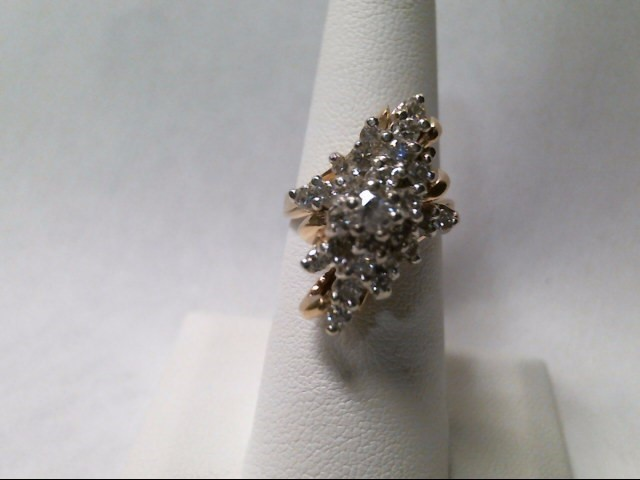 Lady's Diamond Cluster Ring 23 Diamonds 1.15 Carat T.W. 14K Yellow Gold 9.8g