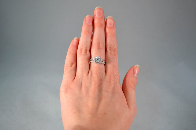 White Stone Lady's Silver & Stone Ring 925 Silver 3g