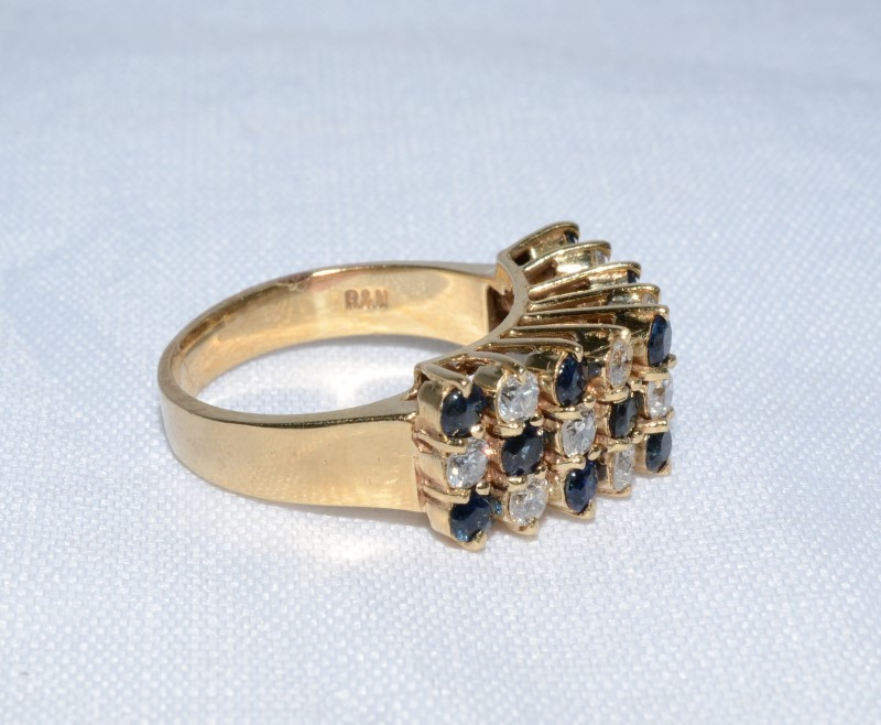 Sapphire & Diamond Checkerboard Ring set in 14K Yellow Gold. Size: 6