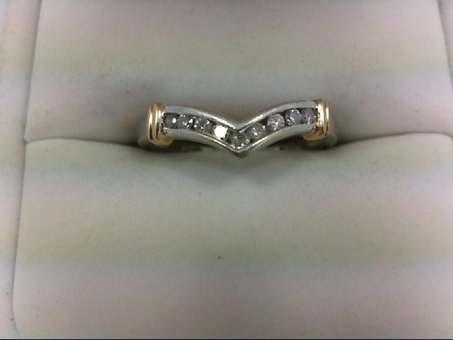 Lady's Diamond Wedding Band 9 Diamonds 0.27 Carat T.W. 10K 2 Tone Gold 2.2g