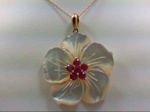 Ruby Gold-Stone Pendant 14K Yellow Gold 6g