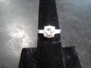 White Stone Lady's Stone Ring 14K White Gold 2.1dwt