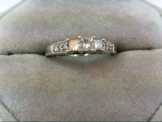 Lady's Diamond Engagement Ring 17 Diamonds .49 Carat T.W. 14K White Gold 3.1g
