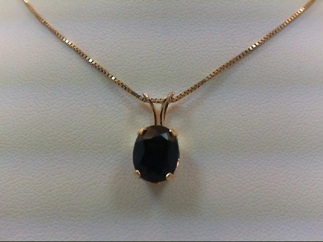 Sapphire Gold-Stone Pendant 14K Yellow Gold 2.7g