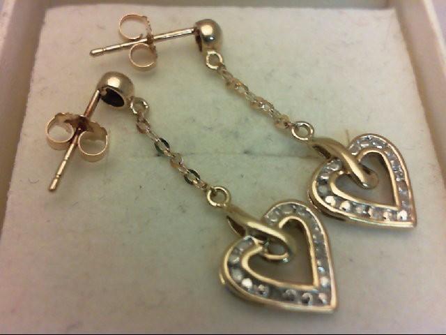 Gold-Diamond Earrings 4 Diamonds 0.04 Carat T.W. 10K Yellow Gold 1.3g