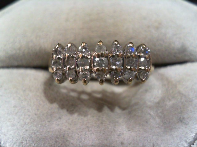 Lady's Diamond Cluster Ring 21 Diamonds .49 Carat T.W. 10K Yellow Gold 2.4g