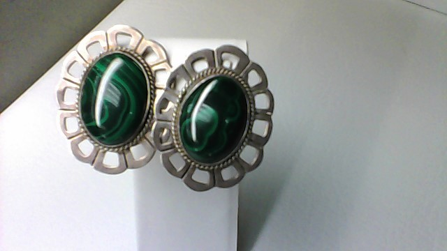 Green Stone Clip on earings 925 32.2g Sterling Silver