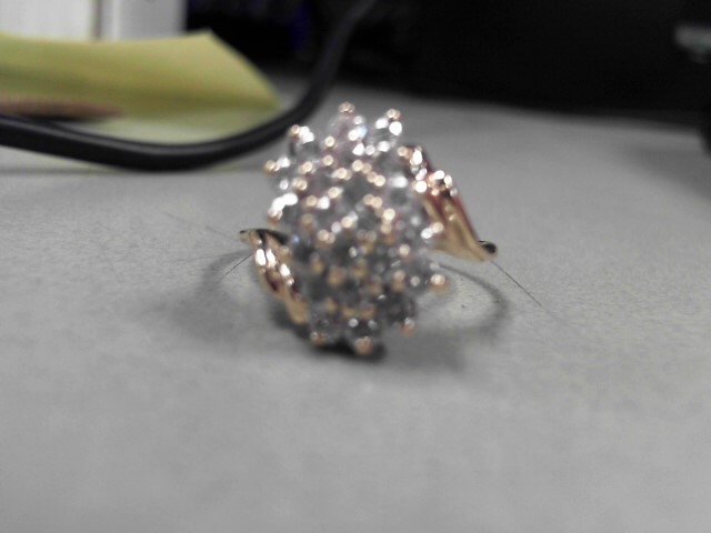 Lady's Diamond Cluster Ring 22 Diamonds 1.1 Carat T.W. 10K Yellow Gold 4.2g Size