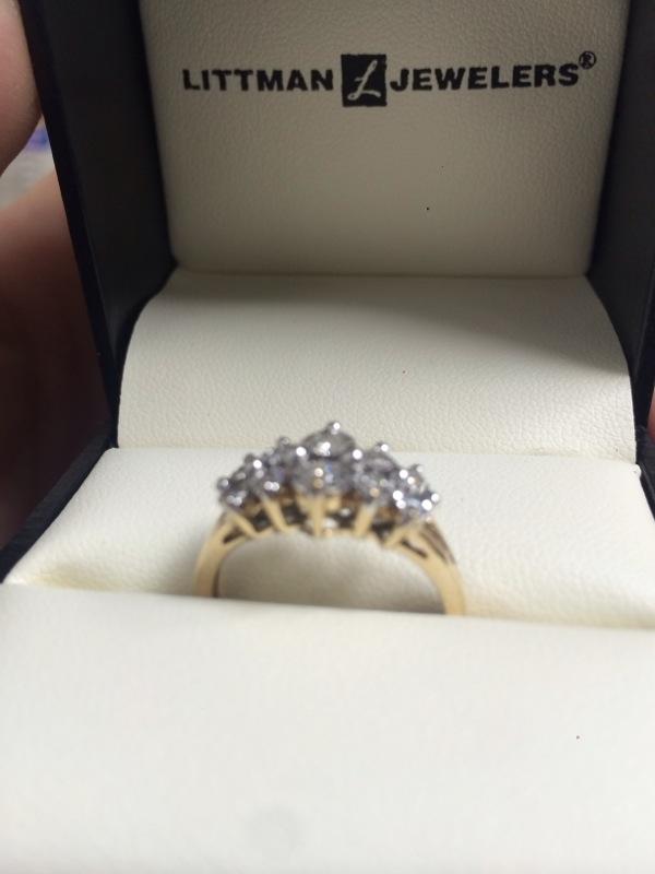 Lady's Diamond Cluster Ring 8 Diamonds .42 Carat T.W. 10K Yellow Gold 2.3dwt