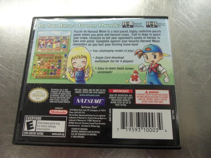 NINTENDO DS PUZZLE DE HARVEST MOON GAME & CASE & BOOKLET