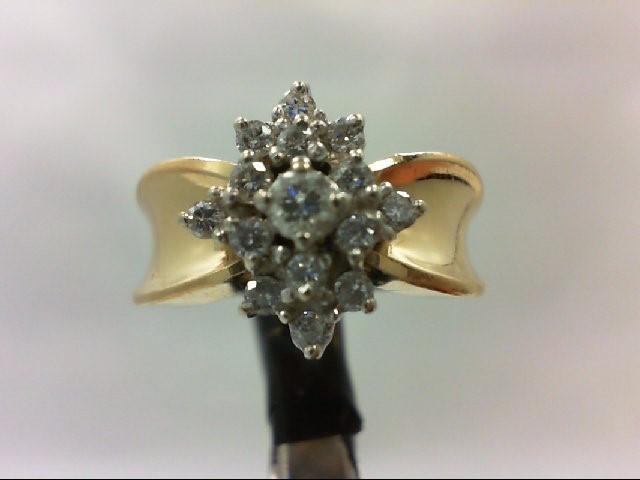 Lady's Diamond Cluster Ring 15 Diamonds 0.52 Carat T.W. 14K Yellow Gold 5.8g Siz