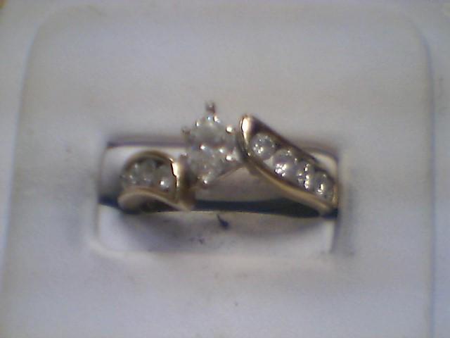 Lady's Diamond Engagement Ring 11 Diamonds 1.50 Carat T.W. 14K Yellow Gold 5g