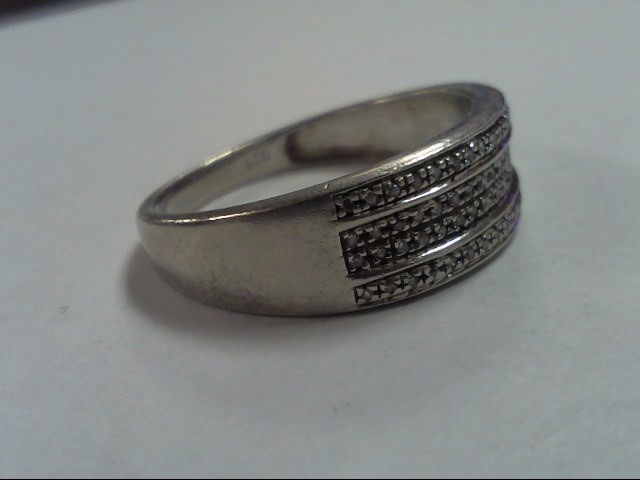 Lady's Silver-Diamond Ring 60 Diamonds .300 Carat T.W. 925 Silver 3g Size:11