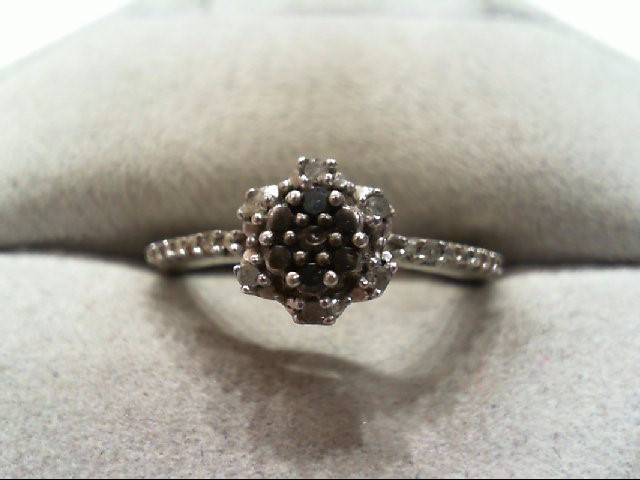 Lady's Silver-Diamond Ring 8 Diamonds .08 Carat T.W. 925 Silver 2.2g