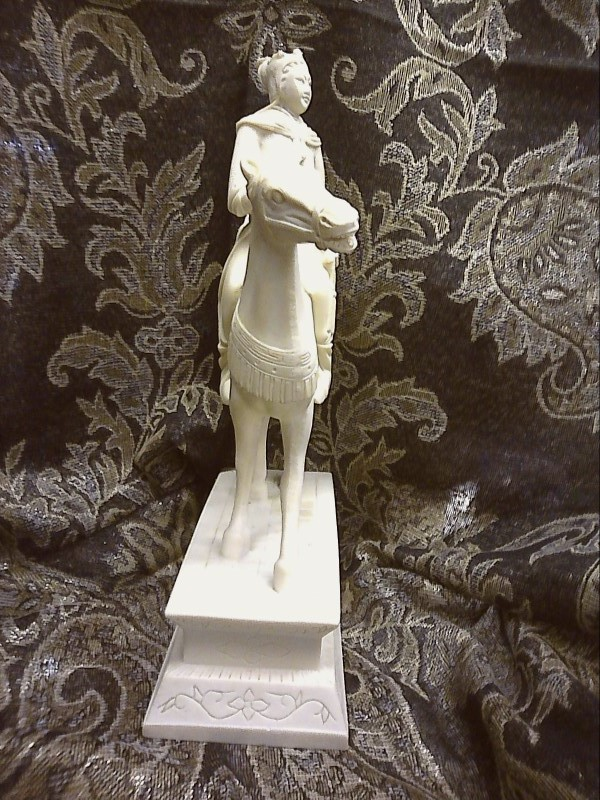 """RESIN CHINESE SOLDIER RIDING ON  A HORSE SIZE 12.5"""""""