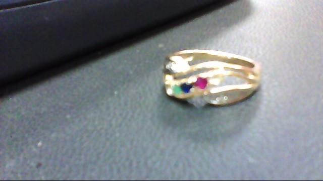 White Stone Lady's Stone & Diamond Ring 2 Diamonds .04 Carat T.W.
