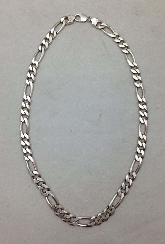Sterling Silver Diamond-Cut Figaro Link Chain and Bracelet 98.3dwt