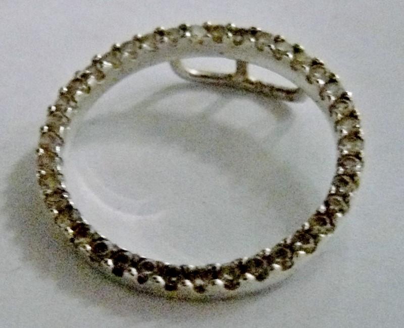 Open Circle Diamond Pendant 925 Silver 1.45dwt