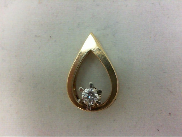 Gold-Diamond Solitaire Pendant 0.15 CT. 14K Yellow Gold 1.4g