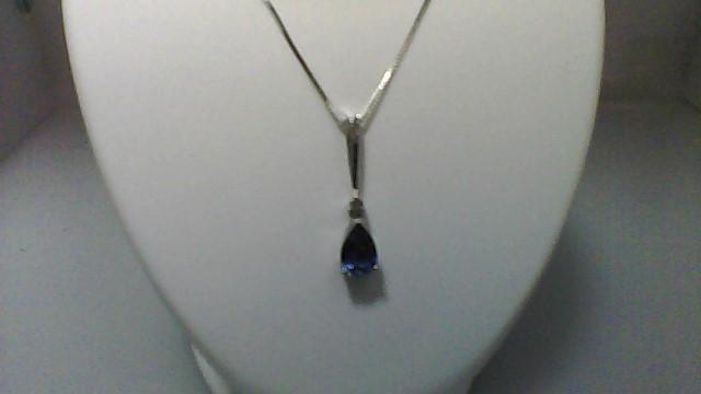 Purple Pear Stone Diamond & Stone Necklace 925 Silver 2.89g