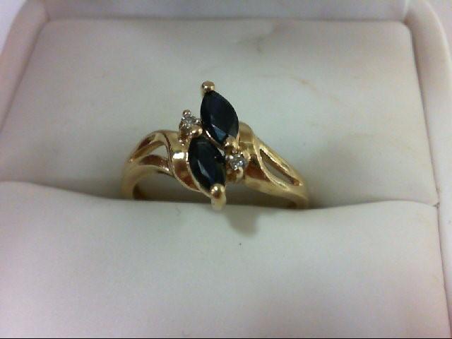 Sapphire Lady's Stone & Diamond Ring 2 Diamonds 0.02 Carat T.W. 14K Yellow Gold