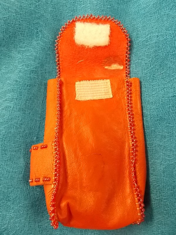 Vintage Hand Made Native American Red Beaded Leather Cigarette Case