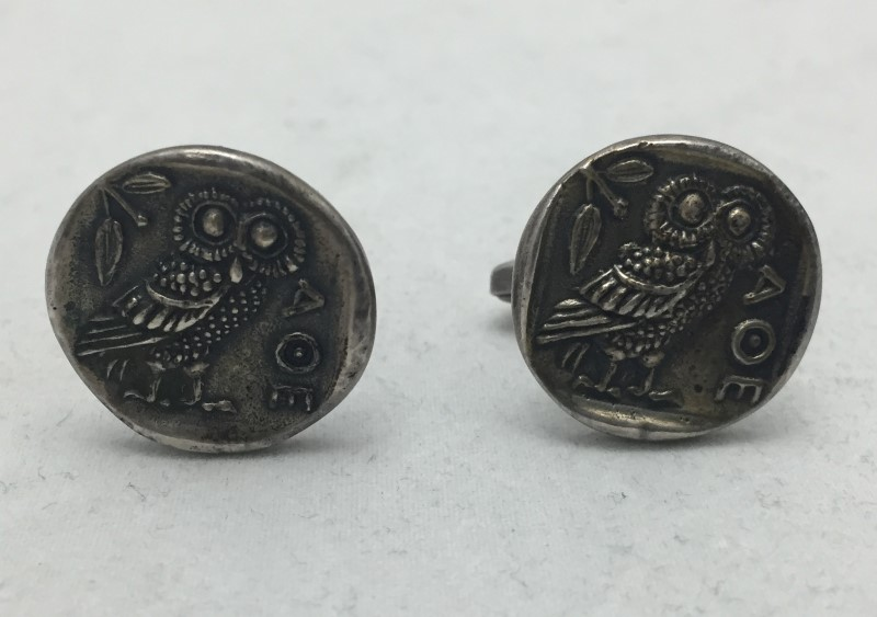 Sterling Silver A.O.E. Owl Athenian Cuff Links