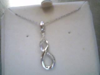 Diamond Necklace 7 Diamonds .035 Carat T.W. 925 Silver 2.7g
