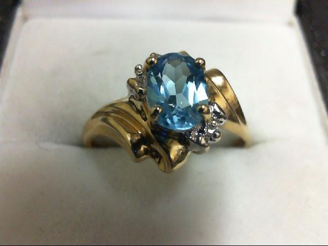 Blue Topaz Lady's Stone & Diamond Ring 2 Diamonds 0.02 Carat T.W. 10K Yellow Gol