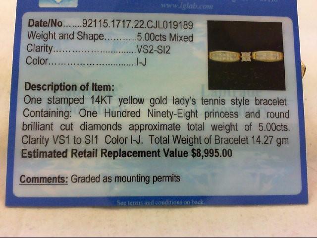 Gold-Diamond Bracelet 198 Diamonds 5.00 Carat T.W. 14K Yellow Gold 14.27g