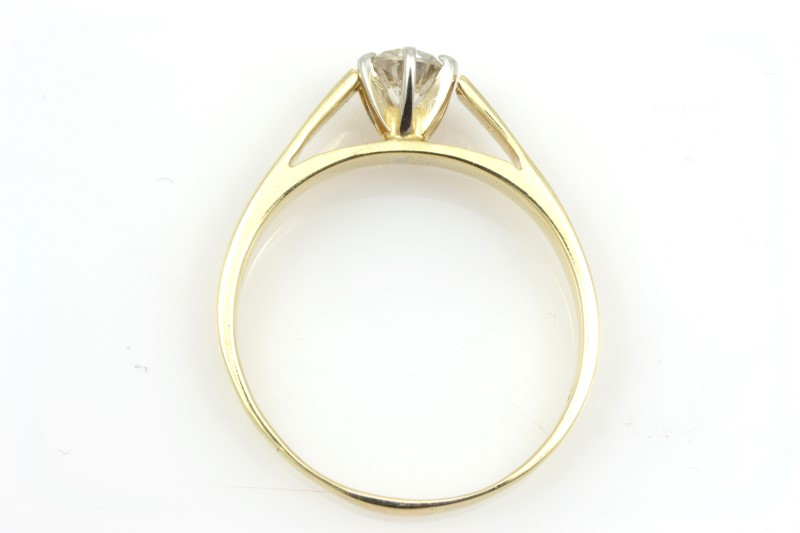 ESTATE DIAMOND RING SOLID 14K GOLD ENGAGEMENT CATHEDRAL SET SZ 9.25